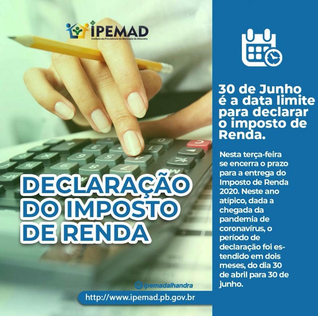 DECLARAÇÃO IMPOSTO DE RENDA 2020