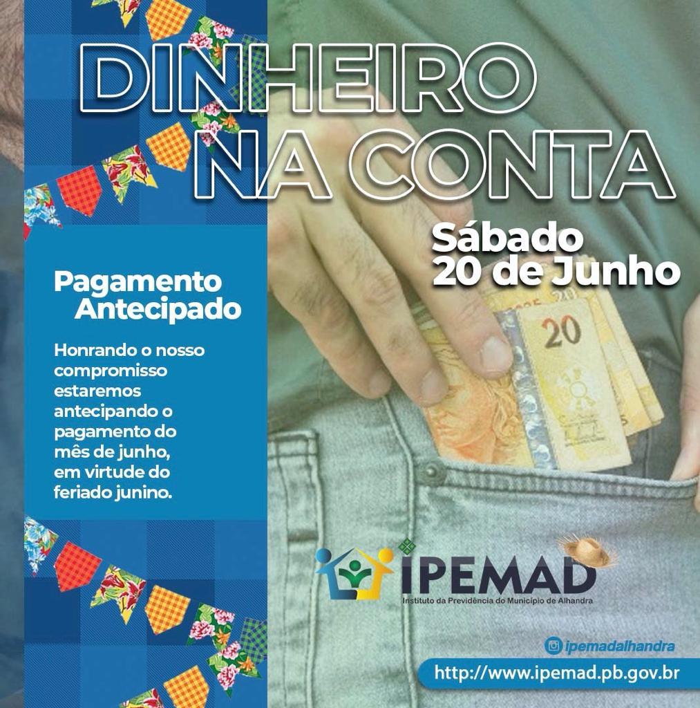 PAGAMENTO ANTECIPADO PARA SÁBADO(20)
